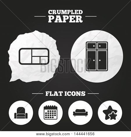 Crumpled paper speech bubble. Furniture icons. Sofa, cupboard, and book shelf signs. Modern armchair symbol. Paper button. Vector