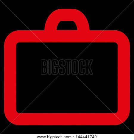 Case vector icon. Style is contour flat icon symbol, red color, black background.