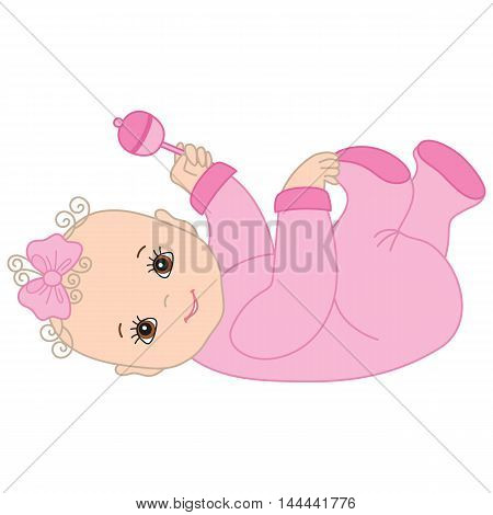 Vector cute beautiful baby girl with rattle