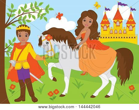 Vector African American beautiful princess on horse with prince
