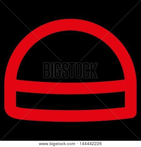 Hardhat vector icon. Style is linear flat icon symbol, red color, black background.