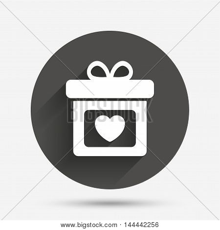 Gift box sign icon. Present with heart love symbol. Circle flat button with shadow. Vector