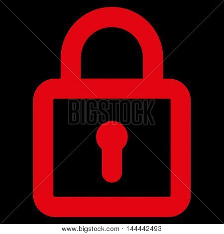 Lock vector icon. Style is linear flat icon symbol, red color, black background.
