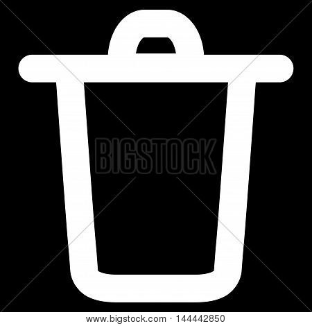 Bucket vector icon. Style is linear flat icon symbol, white color, black background.