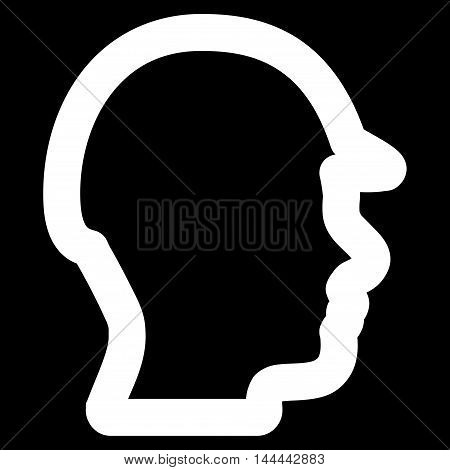 Builder Head vector icon. Style is stroke flat icon symbol, white color, black background.