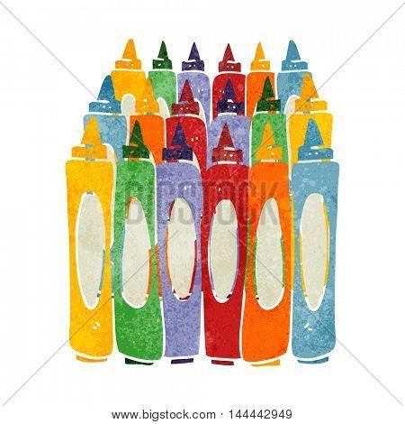 freehand drawn retro cartoon crayons