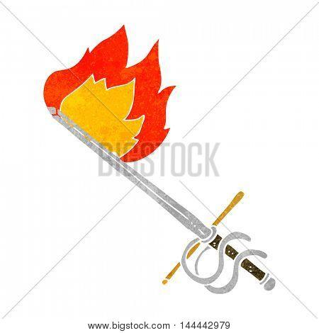 freehand drawn retro cartoon flaming sword