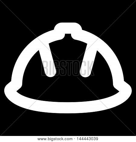 Builder Helmet vector icon. Style is linear flat icon symbol, white color, black background.