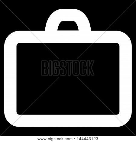 Case vector icon. Style is outline flat icon symbol, white color, black background.