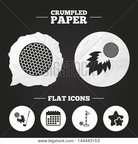 Crumpled paper speech bubble. Golf ball icons. Fireball with club sign. Luxury sport symbol. Paper button. Vector