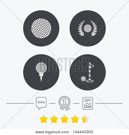 Golf ball icons. Laurel wreath winner award sign. Luxury sport symbol. Chat, award medal and report linear icons. Star vote ranking. Vector