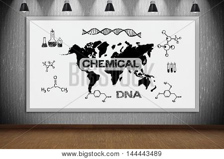 whiteboard with drawing chemical concept in laboratory