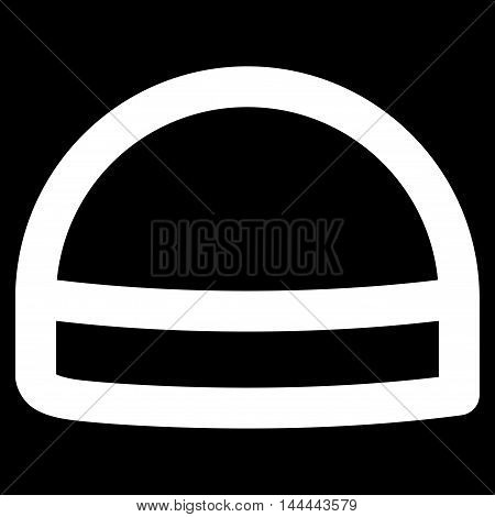 Hardhat vector icon. Style is stroke flat icon symbol, white color, black background.