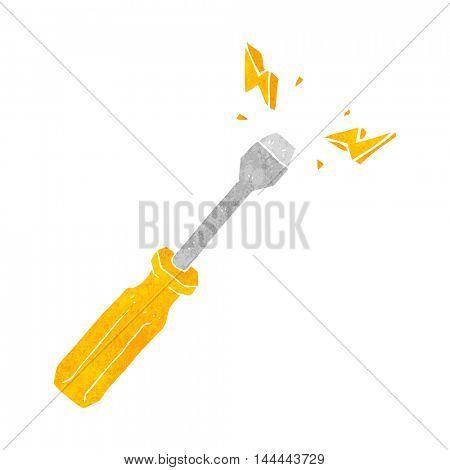 freehand drawn retro cartoon screwdriver