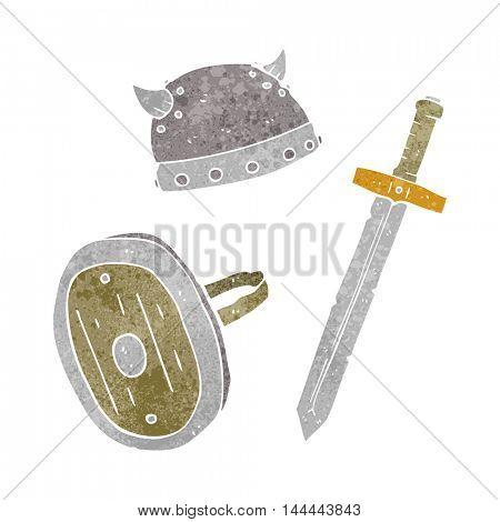 freehand retro cartoon medieval warrior objects