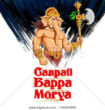 illustration of Lord Ganesha in paint style with text Ganpati Bappa Morya (Oh Ganpati My Lord)