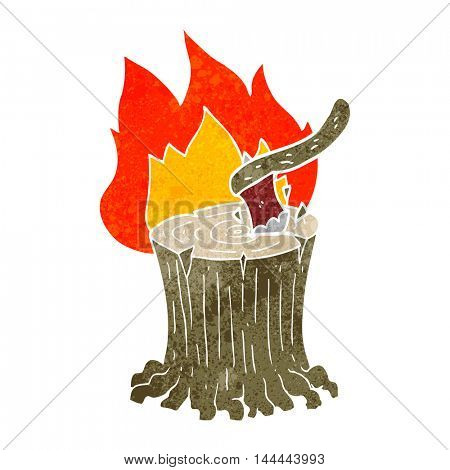 freehand retro cartoon axe in a flaming tree stump