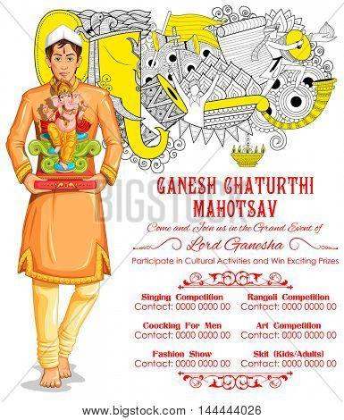 illustration of Ganesh Chaturthi event competition banner