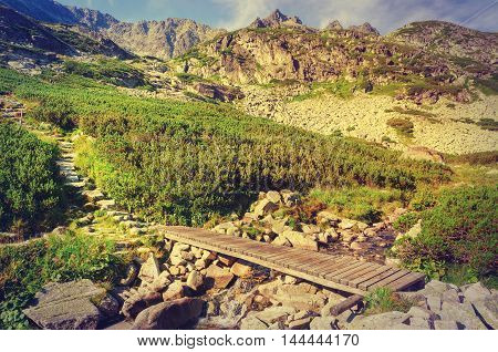 Summer mountain landscape in vintage style. Wooden bridge in the valley and rocky peaks in High Tatra Slovakia.