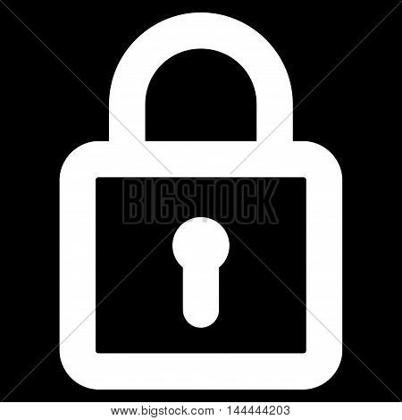 Lock vector icon. Style is stroke flat icon symbol, white color, black background.