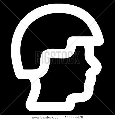 Soldier Head vector icon. Style is linear flat icon symbol, white color, black background.