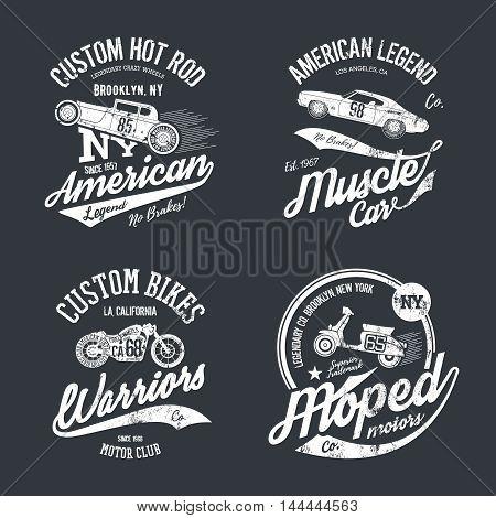 Vintage American old grunge effect tee print vector design set on dark background.