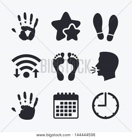 Hand and foot print icons. Imprint shoes and barefoot symbols. Stop do not enter sign. Wifi internet, favorite stars, calendar and clock. Talking head. Vector