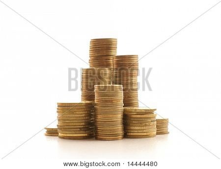 Golden coins isolated on white background