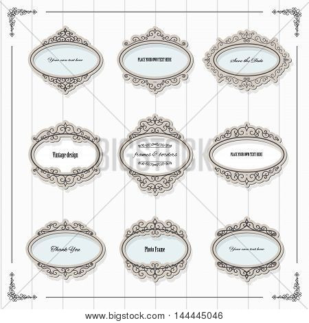 Vintage oval frames set. Calligraphic design elements.