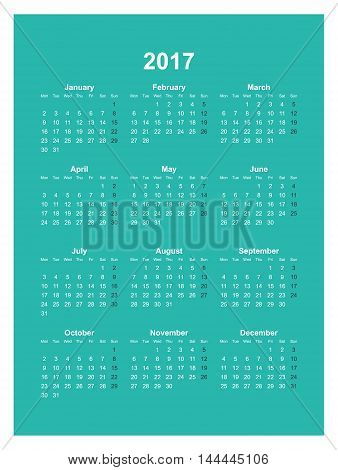 Vector calendar template. 2017 year. Abstract background. Week starts on Monday