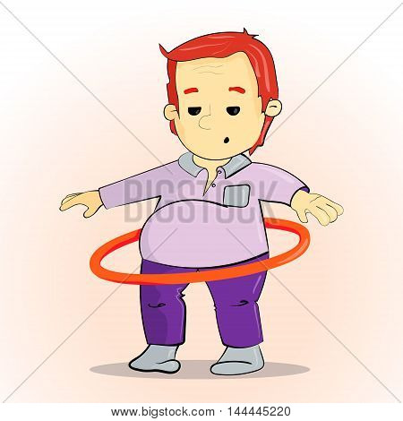 The boy goes in for sports in the gym. Exercise with hoop. Boy spinning circle