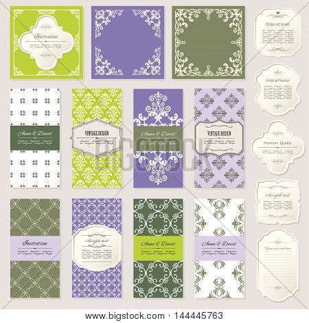 Templates cards frames. Lavender and natural green colors. Can be used in different variations.