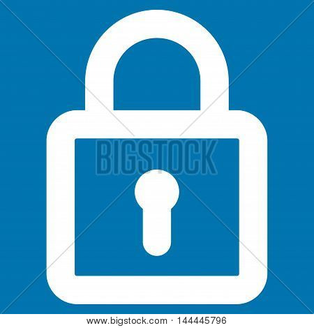 Lock vector icon. Style is stroke flat icon symbol, white color, blue background.