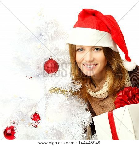 Christmas woman with Xmas decoration on white background