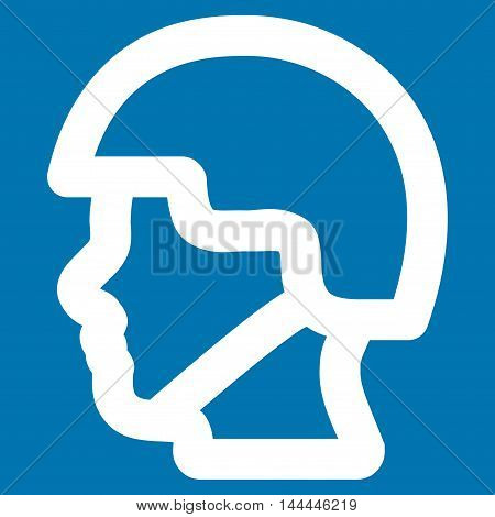 Soldier Head vector icon. Style is contour flat icon symbol, white color, blue background.