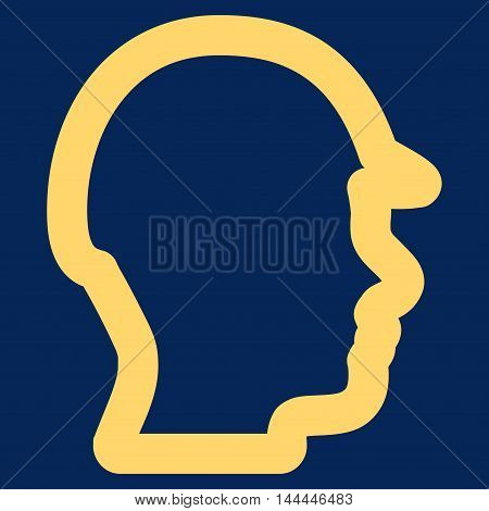 Builder Head vector icon. Style is stroke flat icon symbol, yellow color, blue background.