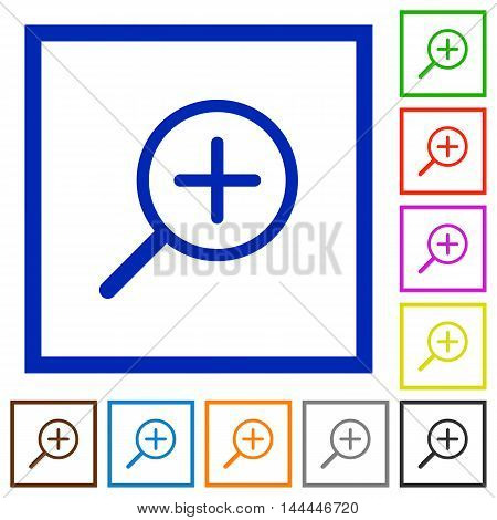 Set of color square framed zoom in flat icons