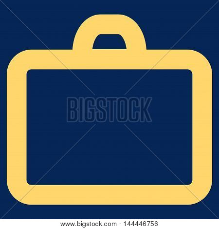 Case vector icon. Style is linear flat icon symbol, yellow color, blue background.