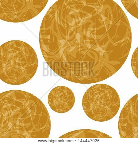 The pattern of brown circles of different sizes with spots. vector seamless