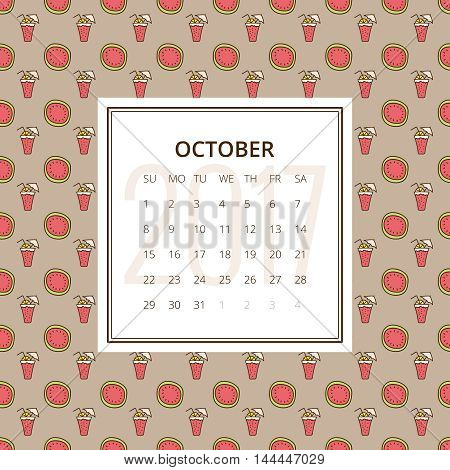October 2017. One month calendar vector template in a page, square format. Seamless pattern with watermelons on background. Week starts on Sunday. Red and brown colors