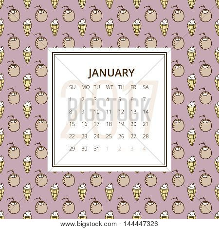 January 2017. One month calendar vector template in a page, square format. Hand drawn seamless pattern with ice cream cones and coconuts on background. Week starts on Sunday. Yellow and mauve colors