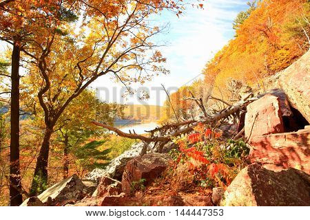Autumn hiking along trails at Devil's Lake State Park Wisconsin