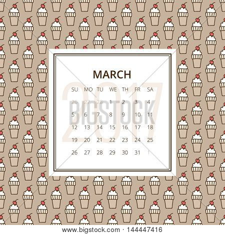May 2017. One month calendar vector template in page, square format. Hand drawn seamless pattern with ice-cream cone and cherry on top on background. Week starts on Sunday. Red, white and brown colors