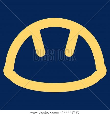 Helmet vector icon. Style is linear flat icon symbol, yellow color, blue background.