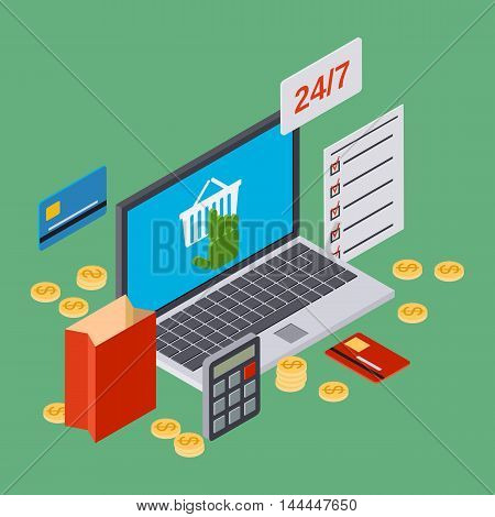 Online shopping, internet trade isometric 3d vector concept