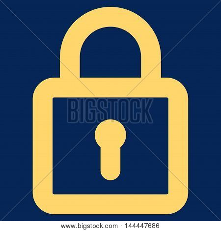 Lock vector icon. Style is linear flat icon symbol, yellow color, blue background.