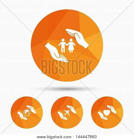 Hands insurance icons. Human life insurance symbols. Heart health sign. Travel flight symbol. Save world planet. Triangular low poly buttons with shadow. Vector