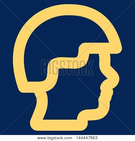 Soldier Head vector icon. Style is contour flat icon symbol, yellow color, blue background.