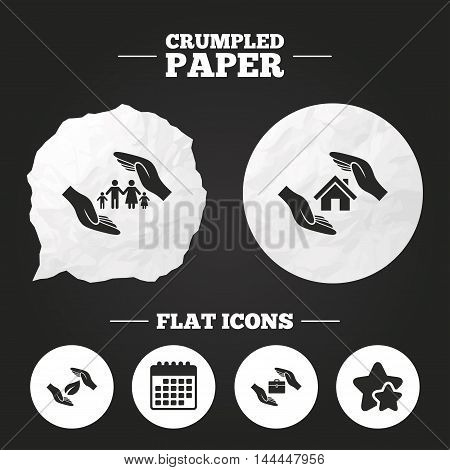 Crumpled paper speech bubble. Hands insurance icons. Human life insurance symbols. Nature leaf protection symbol. House property insurance sign. Paper button. Vector