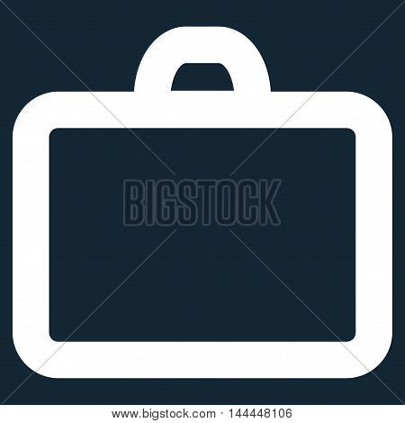 Case vector icon. Style is stroke flat icon symbol, white color, dark blue background.